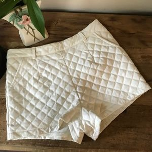 Quilted Cream White TOBI High Waisted Shorts S